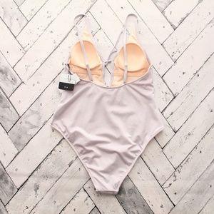 LA Hearts Swim - LA Hearts Gray Shine Keyhole One Piece Swimsuit